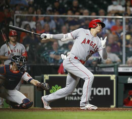 Los Angeles Angels designated hitter Shohei Ohtani (17) strikes out against Houston Astros starting pitcher Luis Garcia during the fifth inning of an MLB baseball game at Minute Maid Park, Monday, May 10, 2021, in Houston. Photo: Karen Warren/Staff Photographer / @2021 Houston Chronicle