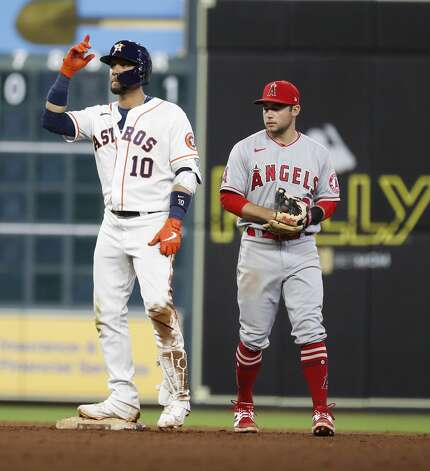 Houston Astros Yuli Gurriel (10) stands on second after hitting a double during the ninth inning of an MLB baseball game at Minute Maid Park, Monday, May 10, 2021, in Houston. Photo: Karen Warren/Staff Photographer / @2021 Houston Chronicle
