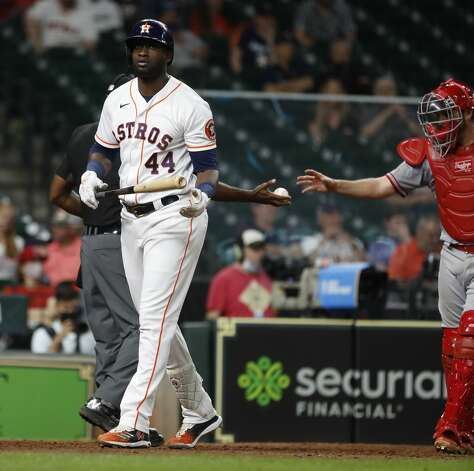 Houston Astros designated hitter Yordan Alvarez (44) reacts after striking out during the ninth inning of an MLB baseball game at Minute Maid Park, Monday, May 10, 2021, in Houston. Photo: Karen Warren/Staff Photographer / @2021 Houston Chronicle