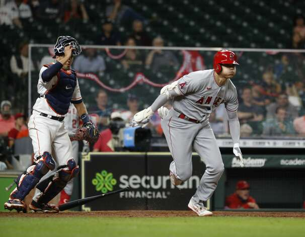 Los Angeles Angels designated hitter Shohei Ohtani (17) hits into a ground out during the eighth inning of an MLB baseball game at Minute Maid Park, Monday, May 10, 2021, in Houston. Photo: Karen Warren/Staff Photographer / @2021 Houston Chronicle