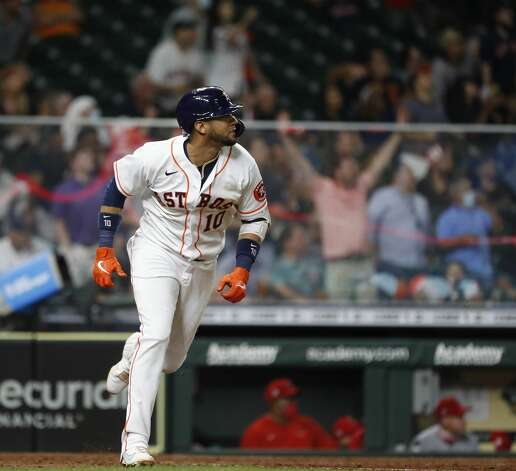 Houston Astros Yuli Gurriel (10) watches his ball fly out to end the sixth inning of an MLB baseball game at Minute Maid Park, Monday, May 10, 2021, in Houston. Photo: Karen Warren/Staff Photographer / @2021 Houston Chronicle