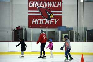 Residents participate in a public skating session at Dorothy Hamill Rink, in Greenwich, Conn. Dec. 28, 2018.