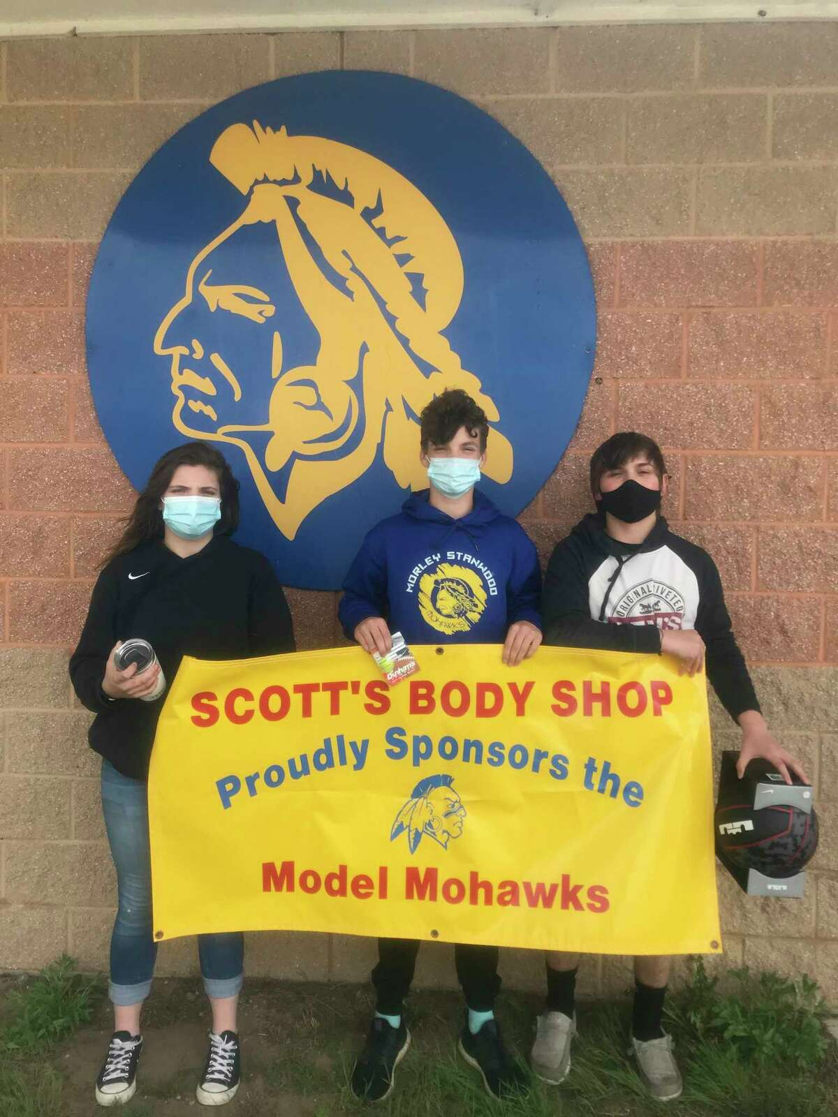 Morley Stanwood's April Model Mohawks, from left to right:Mallory Nickoles (sixth grade), Liam McLaughlin (seventh grade), and Kaden Whitehead (eighth grade).