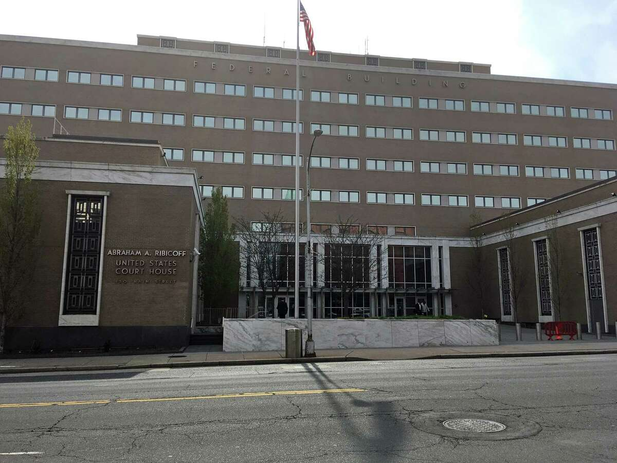 A file photo of the courthouse at 450 Main St. in Hartford, Conn., where on Monday, May 10, 2021, Domingo St. Hilaire Rosario, 57, pleaded guilty before Judge Donna F. Martinez to conspiracy to commit wire fraud and aggravated identity theft. He's scheduled to be sentenced on Sept. 8.
