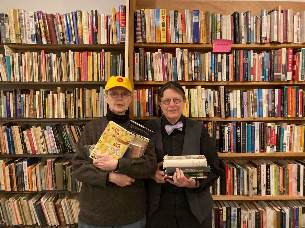 Claudia Bruce, left, and Linda Mussmann ion Time and Space Limited's bookstore. (Provided)