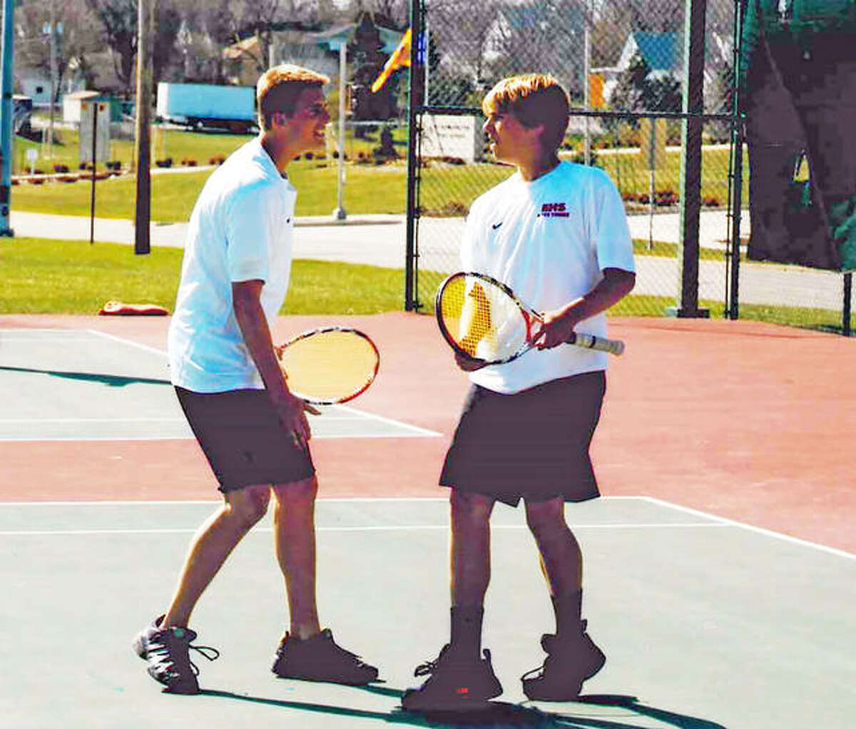 Brothers Jordan Leskera, left, and Justin Leskera during their days as a doubles team at Edwardsville.