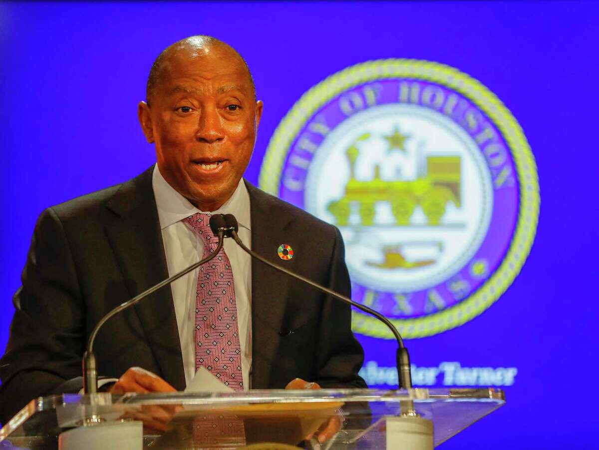 Mayor Sylvester Turner speaks at a City Hall news conference last week. He unveiled his budget proposal for next fiscal year on Tuesday.