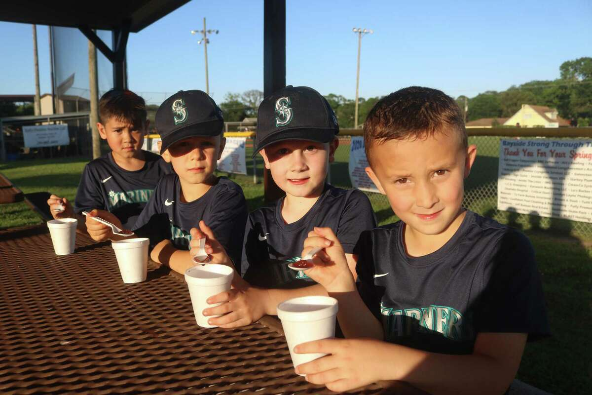 Ayden Peters, left, Brady Armstrong, Joseph Nemer and Rocco Bossi have cold treats while awaiting a game at bustling Bayside Area Little League.