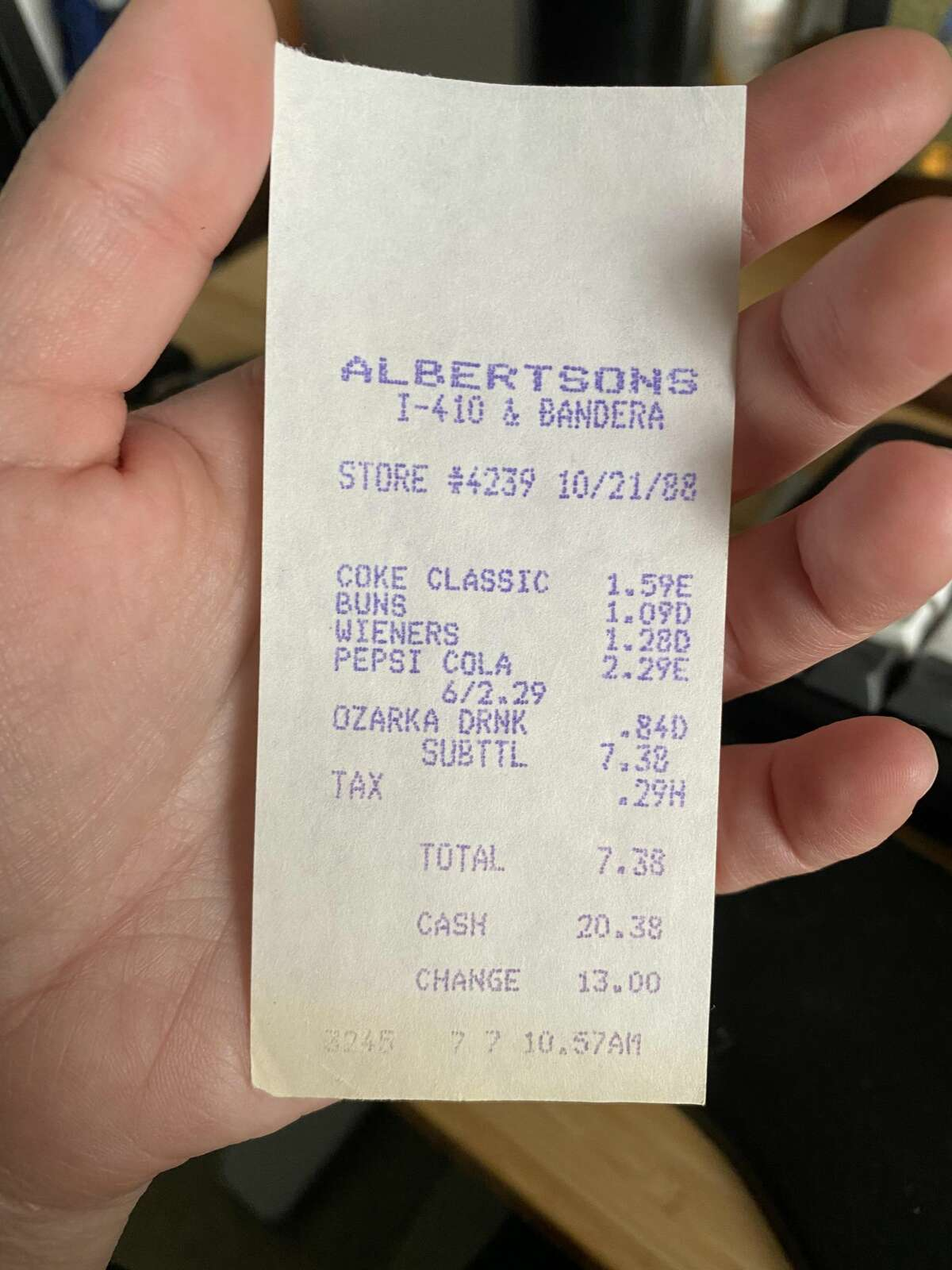 San Antonian Stephanie Garza recently found her local Albertsons store after finding a 33-year-old receipt she found in a book she bought at Half Price Books in College Station.