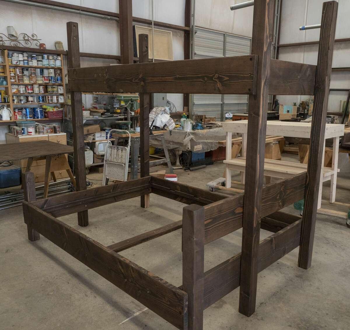 Jill Whitehead makes custom made furnishings in her workshop in Midland on April 14.