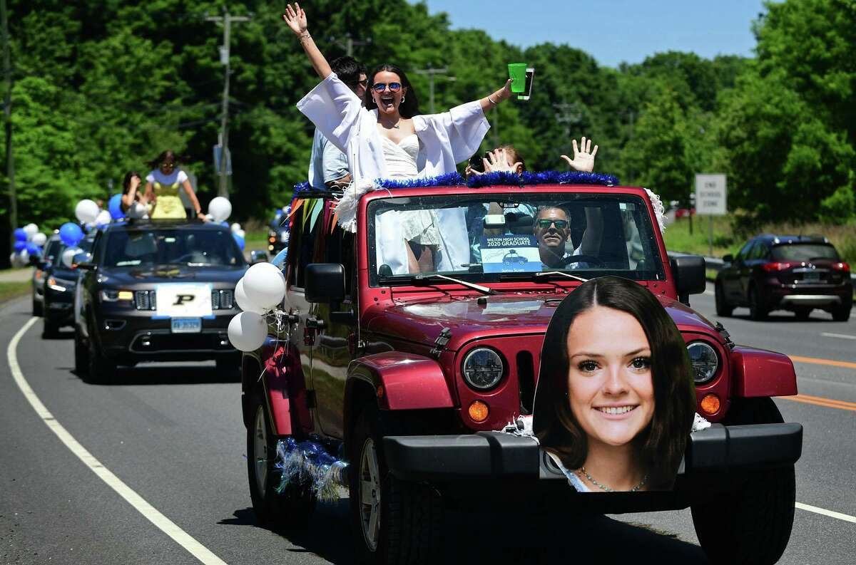 Graduates arrived by motorcade at the Wilton High School commencement ceremony last year. The senior car procession started at Allen's Meadow down Route 7 south and proceeded on Ridgefield Road to Middlebrook Farm Road and finally right on School Road.