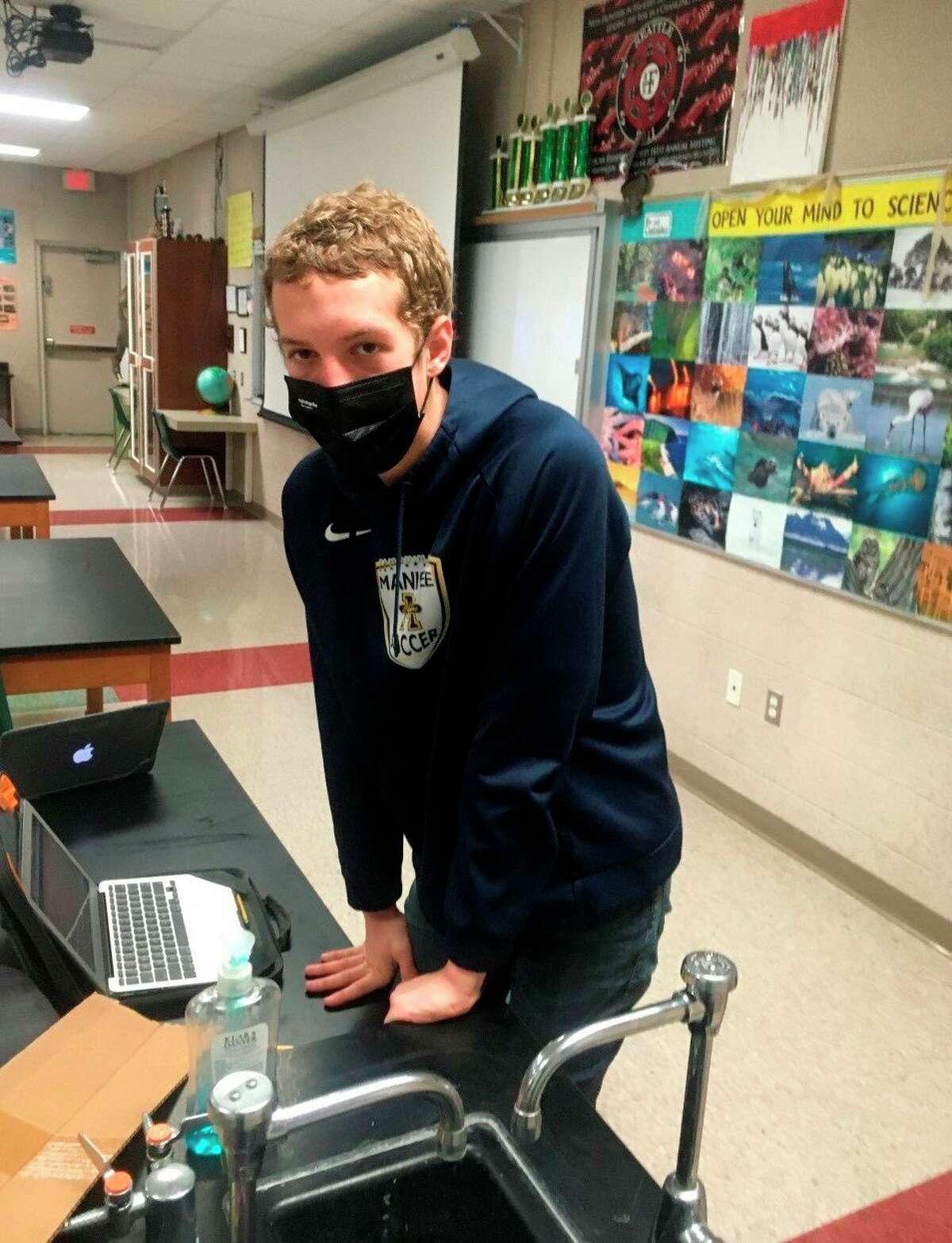 In this file photo, Drew Schlaff participates in the Experimental Design event virtually during Manistee High School's regional Science Olympiad Tournament in March. (File photo)