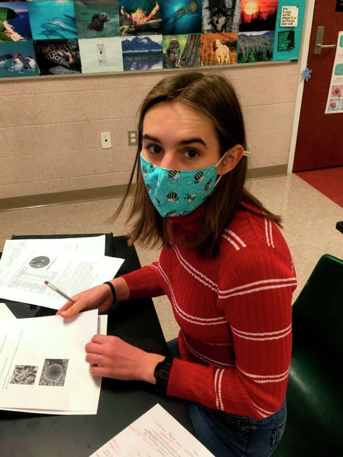 In this file photo, Solana Postma competes in the Water Quality event during Manistee High School's first-place finish in a Science Olympiad regional tournament held virtually in March. (File photo)