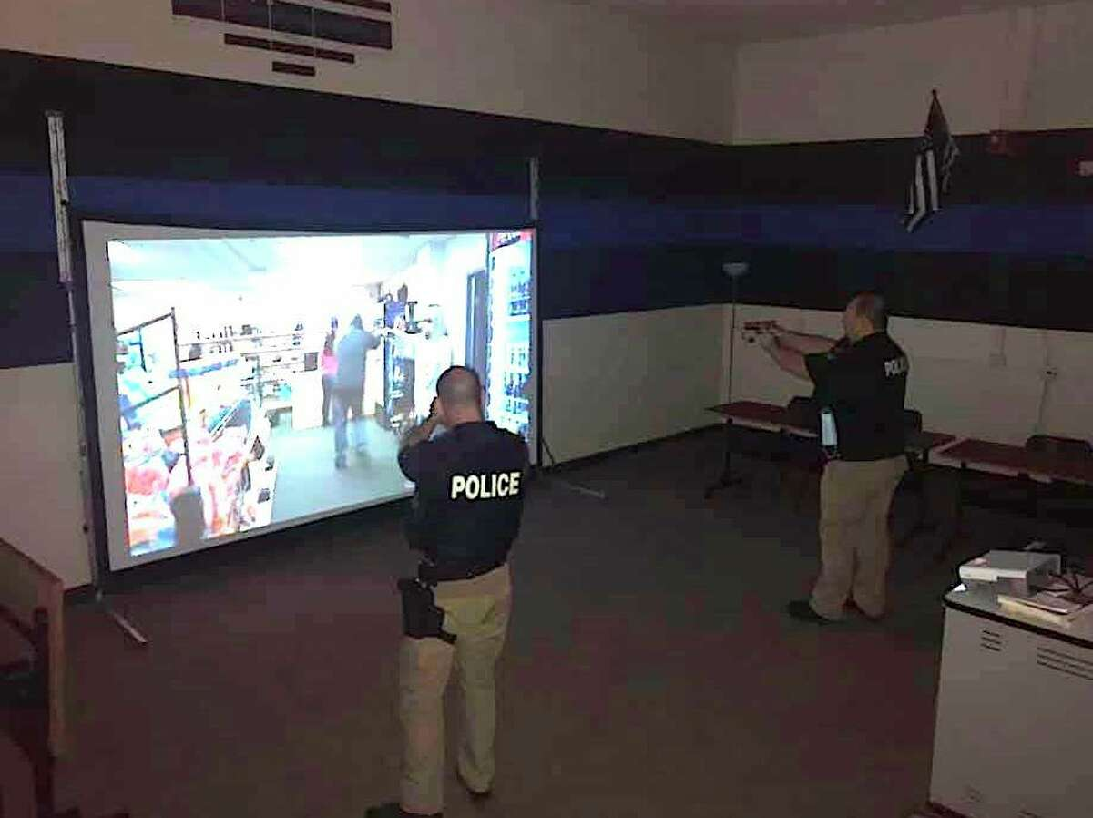 Caro City Police officers used the Tuscola County Technology Center's Milo Advanced Range Firearms Police Training Simulator to do some training. (Courtesy Photo)