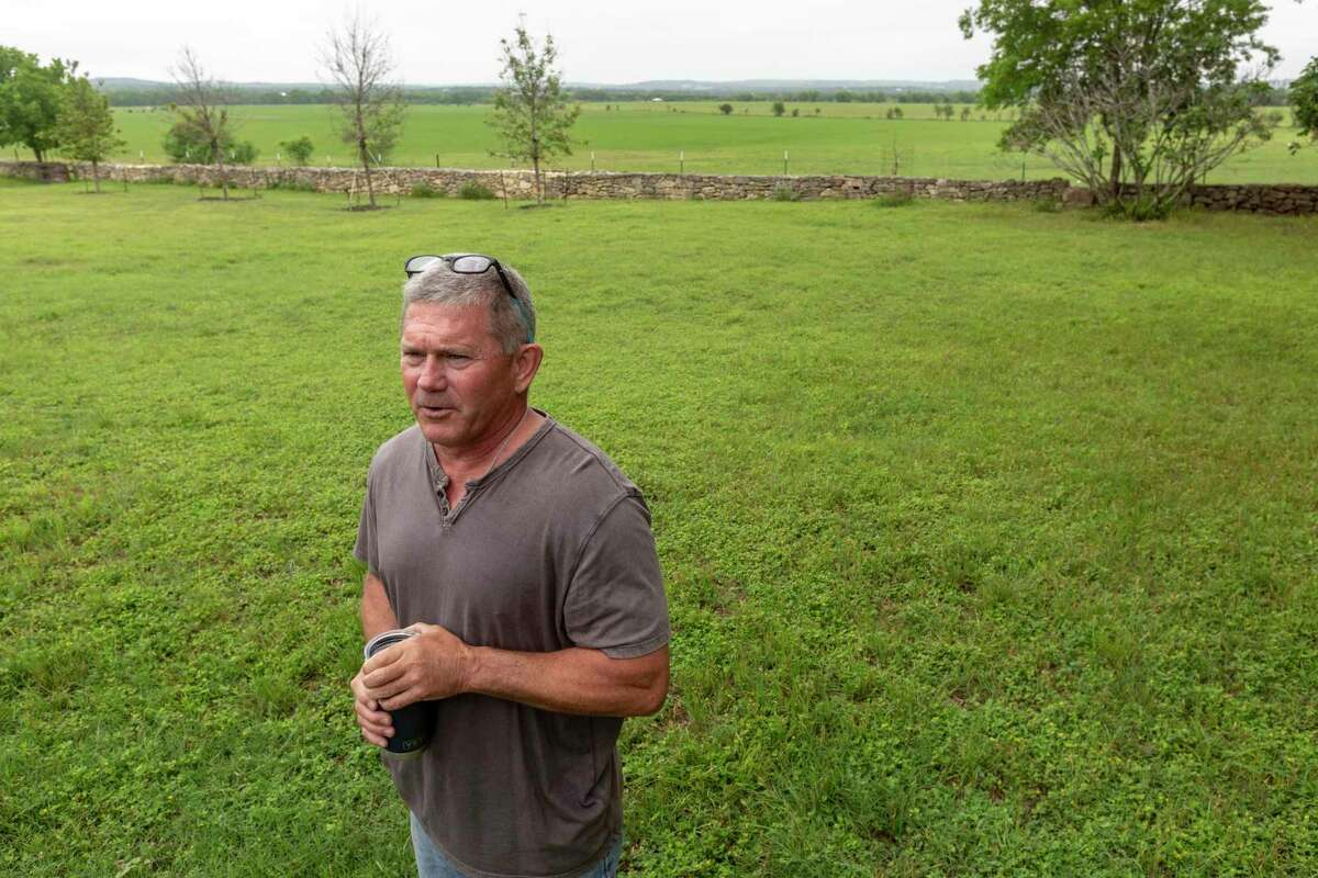 Scott Gruendler talks on his property Tuesday, May 11, 2021 in far north Bexar County about large, underground water and sewer lines that are proposed to run through his property which is protected from development by conservation easements through the Edwards Aquifer Protection program.
