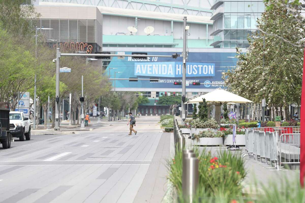 Avenida De Las Americas in front of the George R. Brown Convention Center was nearly a ghost town due to the coronavirus Tuesday, March 24, 2020, in Houston.