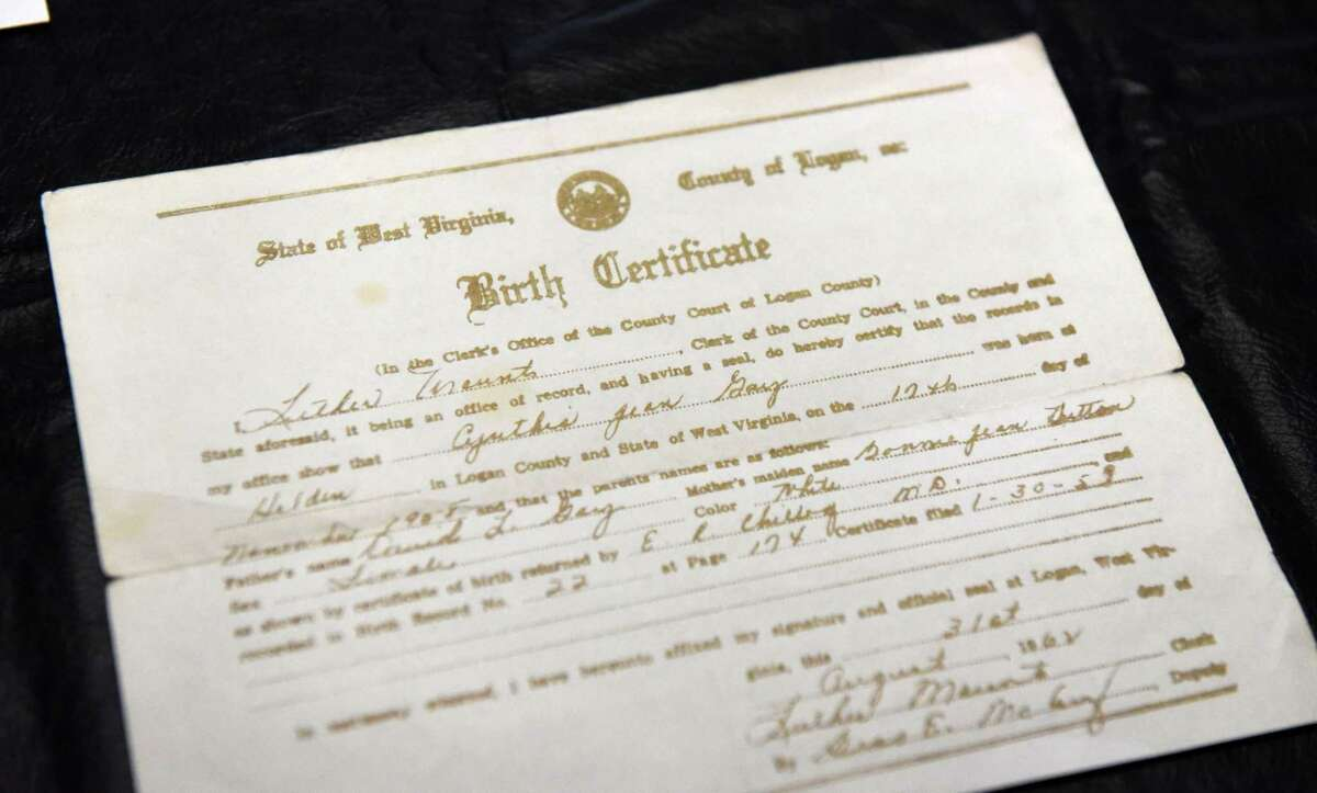 Cindy Dort's birth certificate on Tuesday, May 4, 2021, in Milton, N.Y. Cindy, who was adopted, is searching for her birth family. (Will Waldron/Times Union)