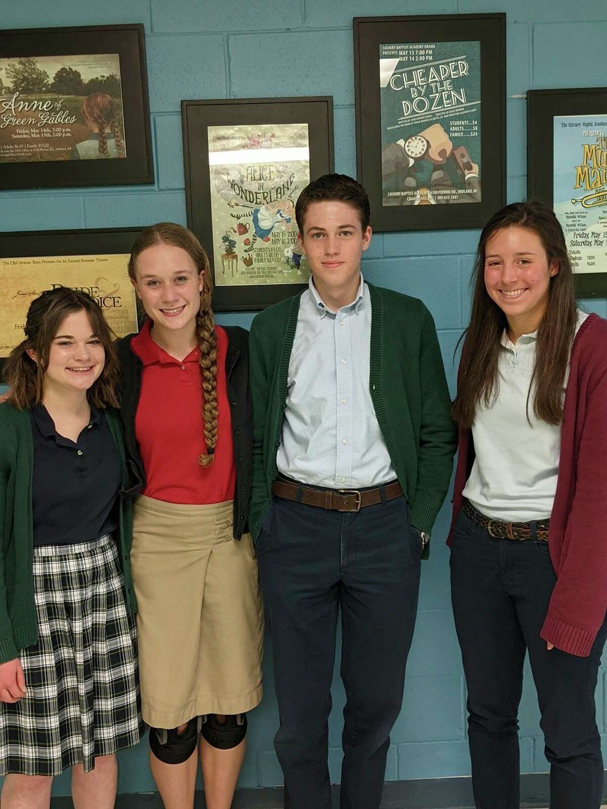 Pictured are the top students at Calvary Baptist Academy. From left is Madeline Chrylser, Elaiyna Schwartzkopf, Drew Dale, and Caroline Holdeman. (Photo Provided)