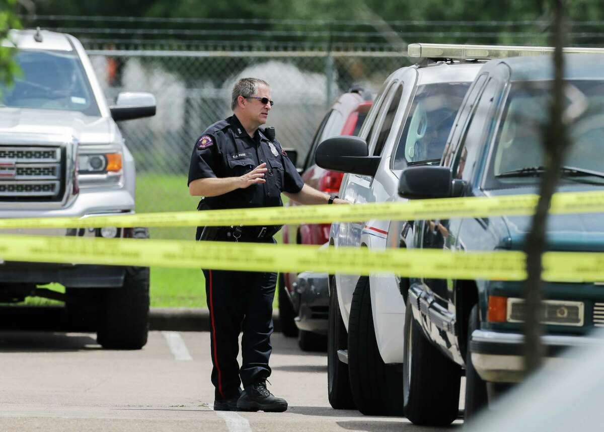 Pasadena Police Department investigates the scene where a man was fatally shot on the 3000 block of Pasadena Boulevard on Tuesday, May 11, 2021, in Pasadena.