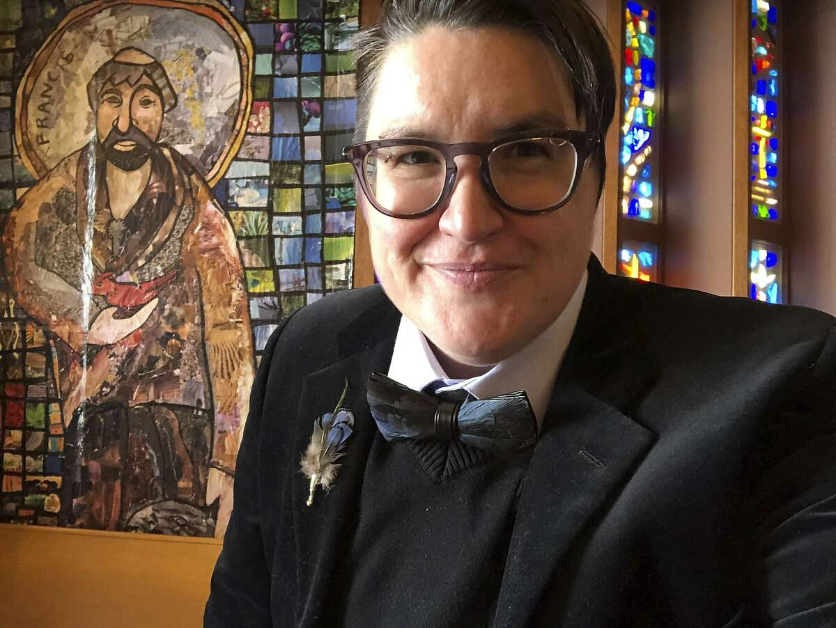 A selfie shows the Rev. Megan Rohrer at Grace Lutheran Church, where they serve as pastor.