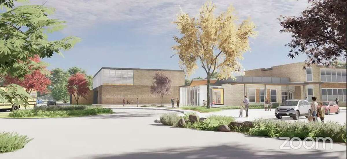 An artist rendering of the renovated Pumpkin Delight Elementary School main entrance.
