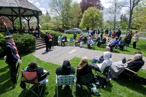 Speakers address the gathering at Ballard Park in Ridgefield for the National Day of Prayer ceremony. Photo taken Thursday, May 5 2011