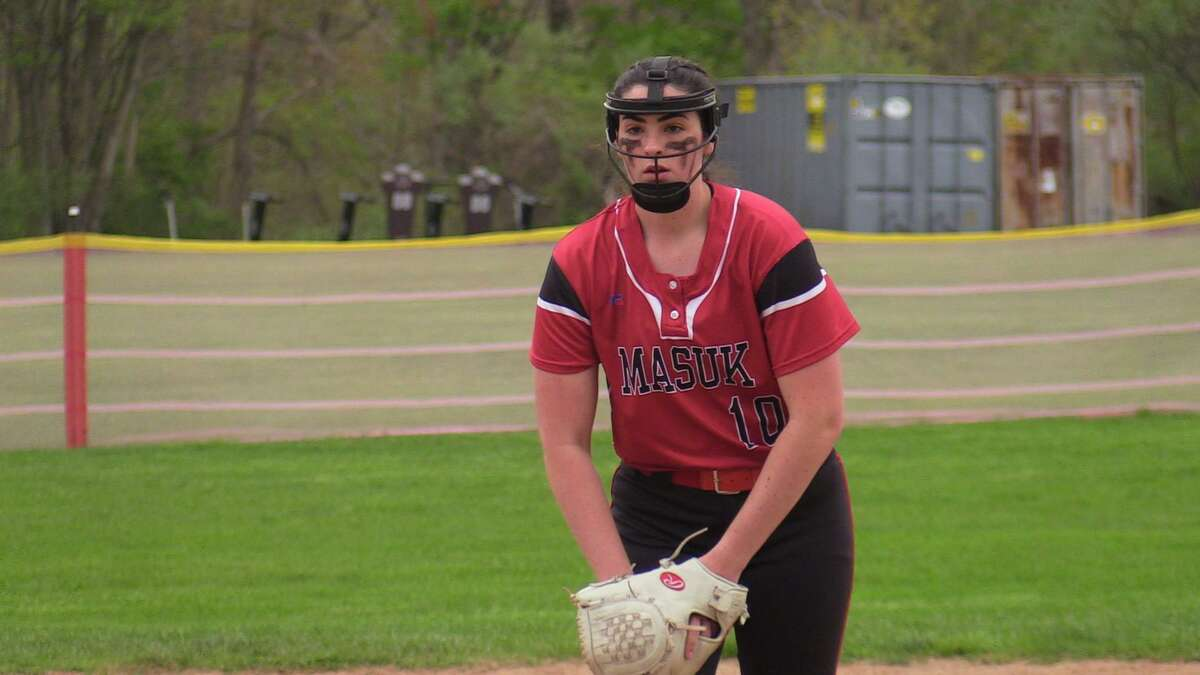 Masuk's Kathryn Gallant pitches against Notre Dame-Fairfield on May 3.