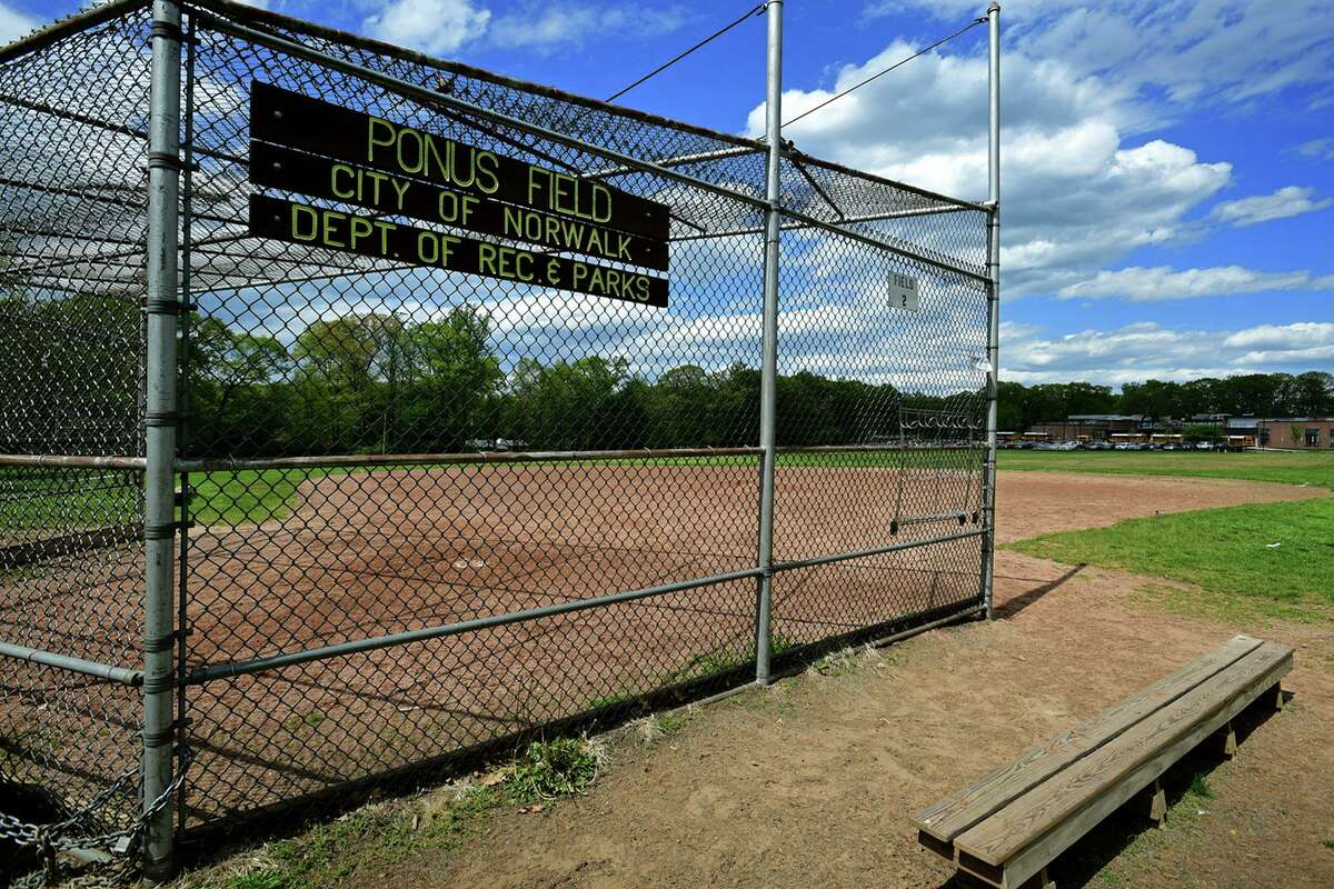 Ponus Ridge Middle School fields May 11, 2021, in Norwalk, Conn. Some residents are complaining the fields are not maintained.