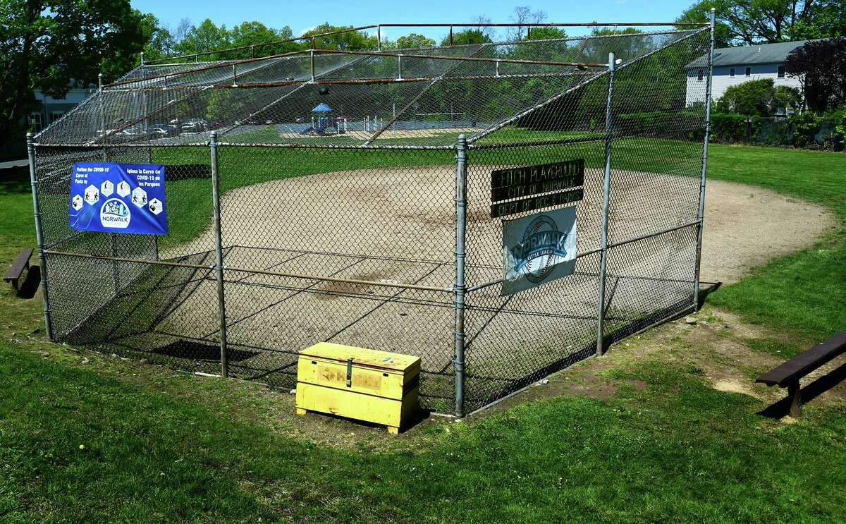 Fitch Field at 73 Strawberry Hill Avenue May 11, 2021, in Norwalk, Conn. Some residents are complaining the fields are not maintained.