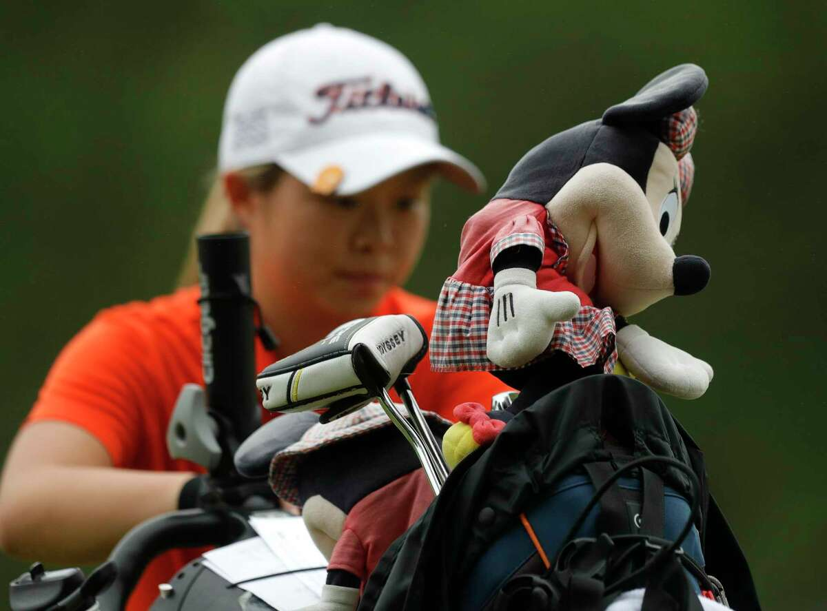 A Minnie Mouse club cover is seen on the bag of Seven Lakes' Maelynn Kim Legacy Hills Golf Club, Tuesday, May 11, 2021, in Georgetown.