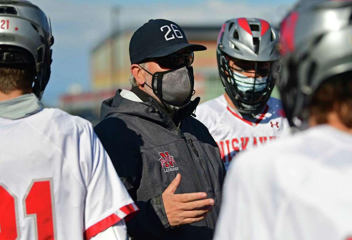 Niskayuna head coach Mike Vorgang talks to his players during a lacrosse game against Guilderland on Tuesday, May 11, 2021 in Niskayuna, N.Y. (Lori Van Buren/Times Union)