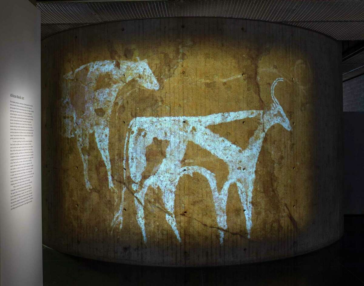 Projection of Pair of Cows, Tiberou, Tibesti Mountains, Chad, 5500-2000 B.C.E. (pastoral period). Pigment on rock.