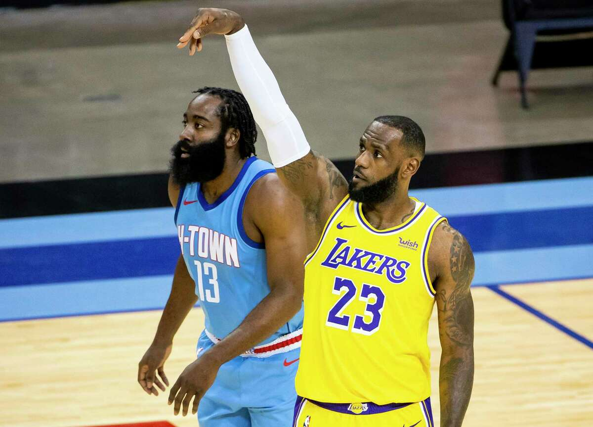 James Harden, left, has relocated to Brooklyn since the last time the Rockers faced the Lakers and LeBron James in January.