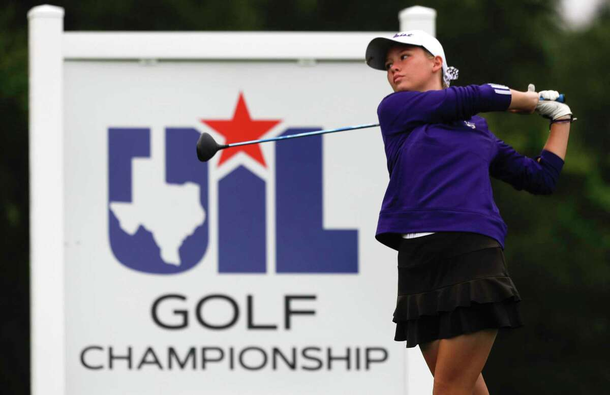 Eryn Garza of Montgomery hits off the 1st tee box during the Class 5A girls UIL State Golf Championship at White Wing Golf Club, Tuesday, May 11, 2021, in Georgetown.