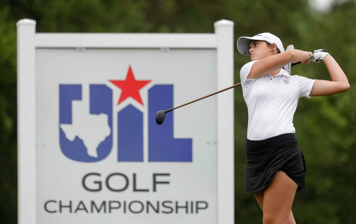 Ceci Lococo of Montgomery hits off the 1st tee box during the Class 5A girls UIL State Golf Championship at White Wing Golf Club, Tuesday, May 11, 2021, in Georgetown.