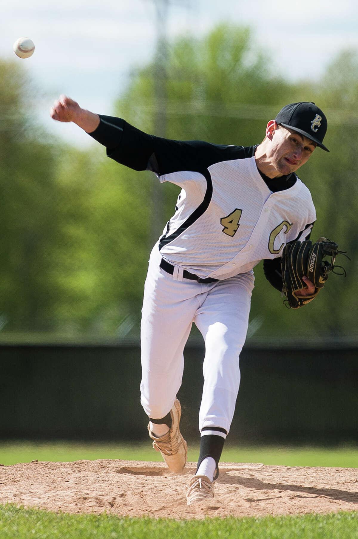 Bullock Creek's Carter Campau pitches the ball during a game against Hemlock Tuesday, May 11, 2021 at Bullock Creek High School. (Katy Kildee/kkildee@mdn.net)