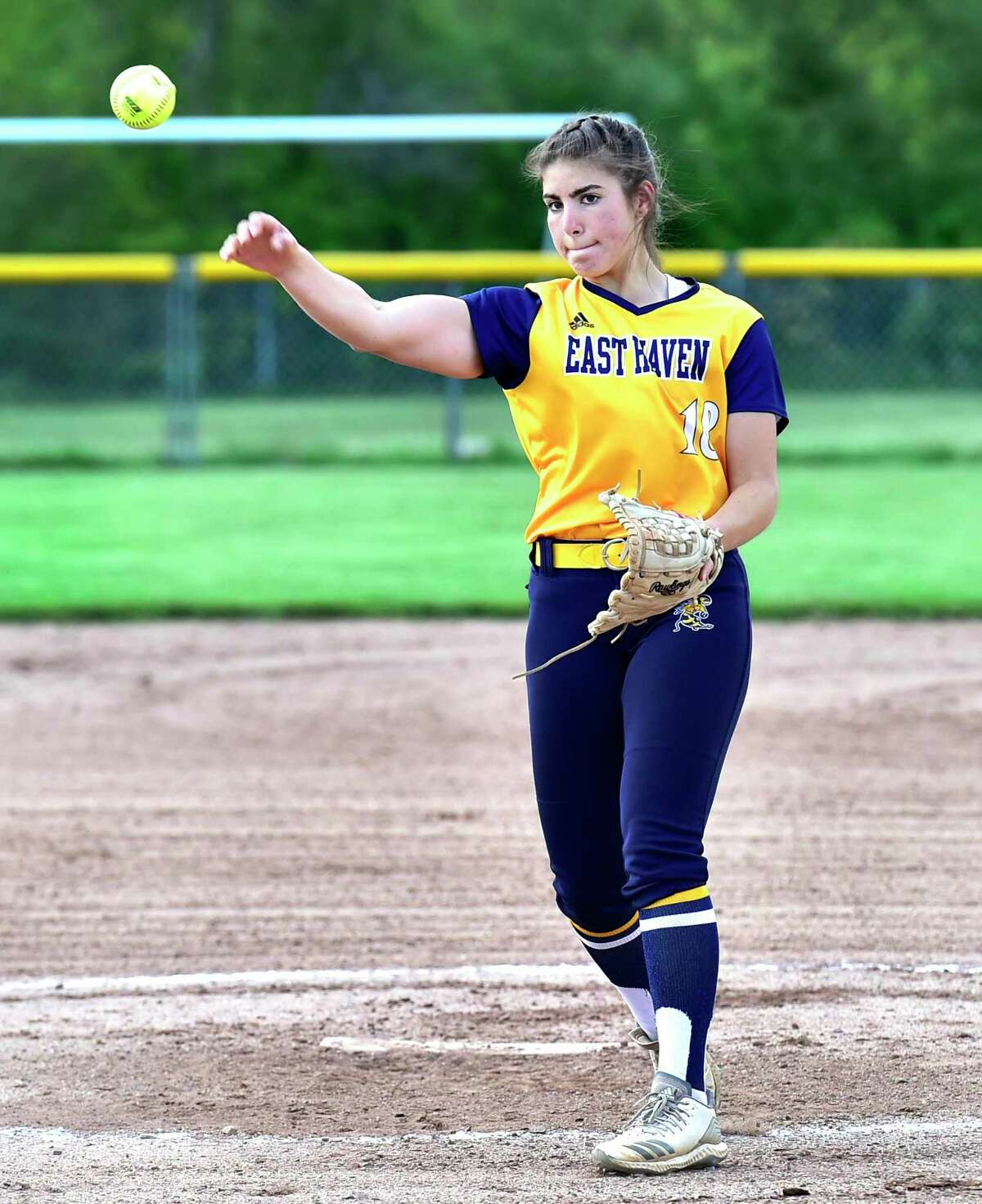 East Haven pitcher Tory Heaphy in action against Cheshire on Tuesday.