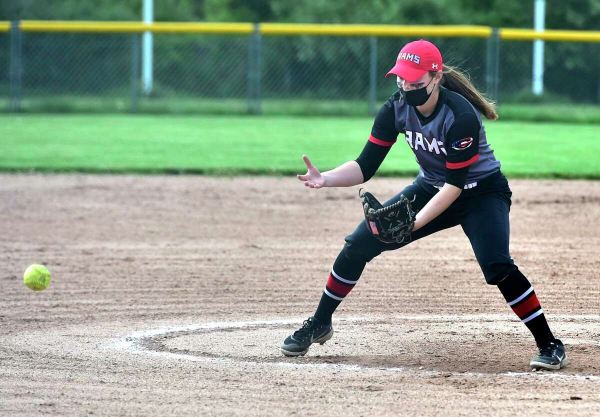 Cheshire pitcher Brianna Pearson in action against East Haven on Tuesday.