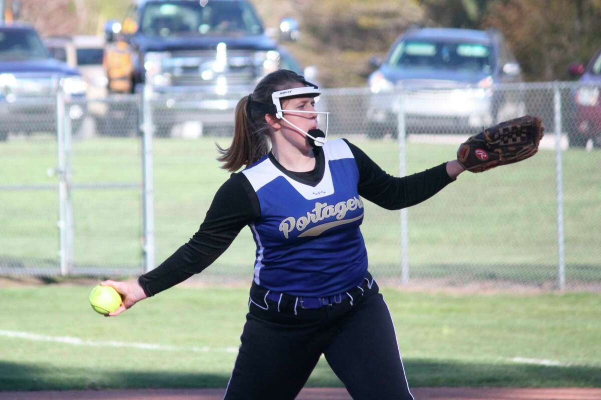 Onekama coach Rob Johnson praised Carly Bennett for coming in and picking up innings after errors ran up the pitch count of his game one starter Sophie Wisniski. (Robert Myers/News Advocate)