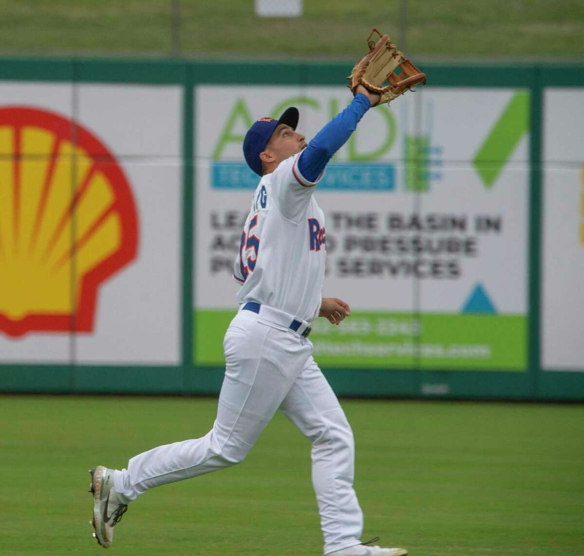 Midland RockHounds' Chase Calabuig runs in to make a catch for an out 05/11/2021 against San Antonio Missions at Momentum Bank Ballpark. Tim Fischer/Reporter-Telegram