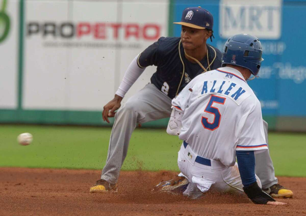 Midland RockHounds' Nick Allen safely steals second as San Antonio Missions' CJ Abrams gets the ball too late 05/11/2021 at Momentum Bank Ballpark. Tim Fischer/Reporter-Telegram