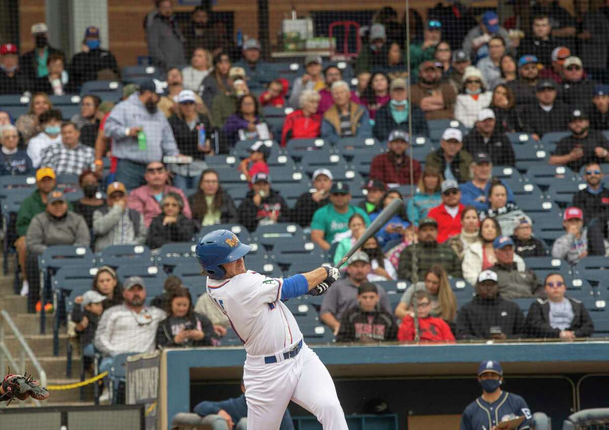 Midland RockHounds' Jonah Bride connects for a pop fly against San Antonio Missions 05/11/2021 at Momentum Bank Ballpark. Tim Fischer/Reporter-Telegram