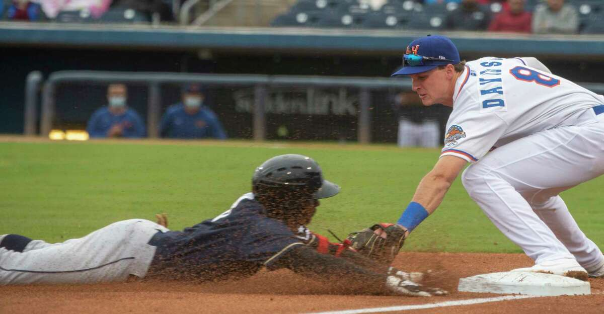 RockHounds' third baseman Logan Davidson puts the tag for an out on San Antonio Missions' Esteury Ruiz as he tries for a triple on a hit to centerfield 05/11/2021 at Momentum Bank Ballpark. Tim Fischer/Reporter-Telegram