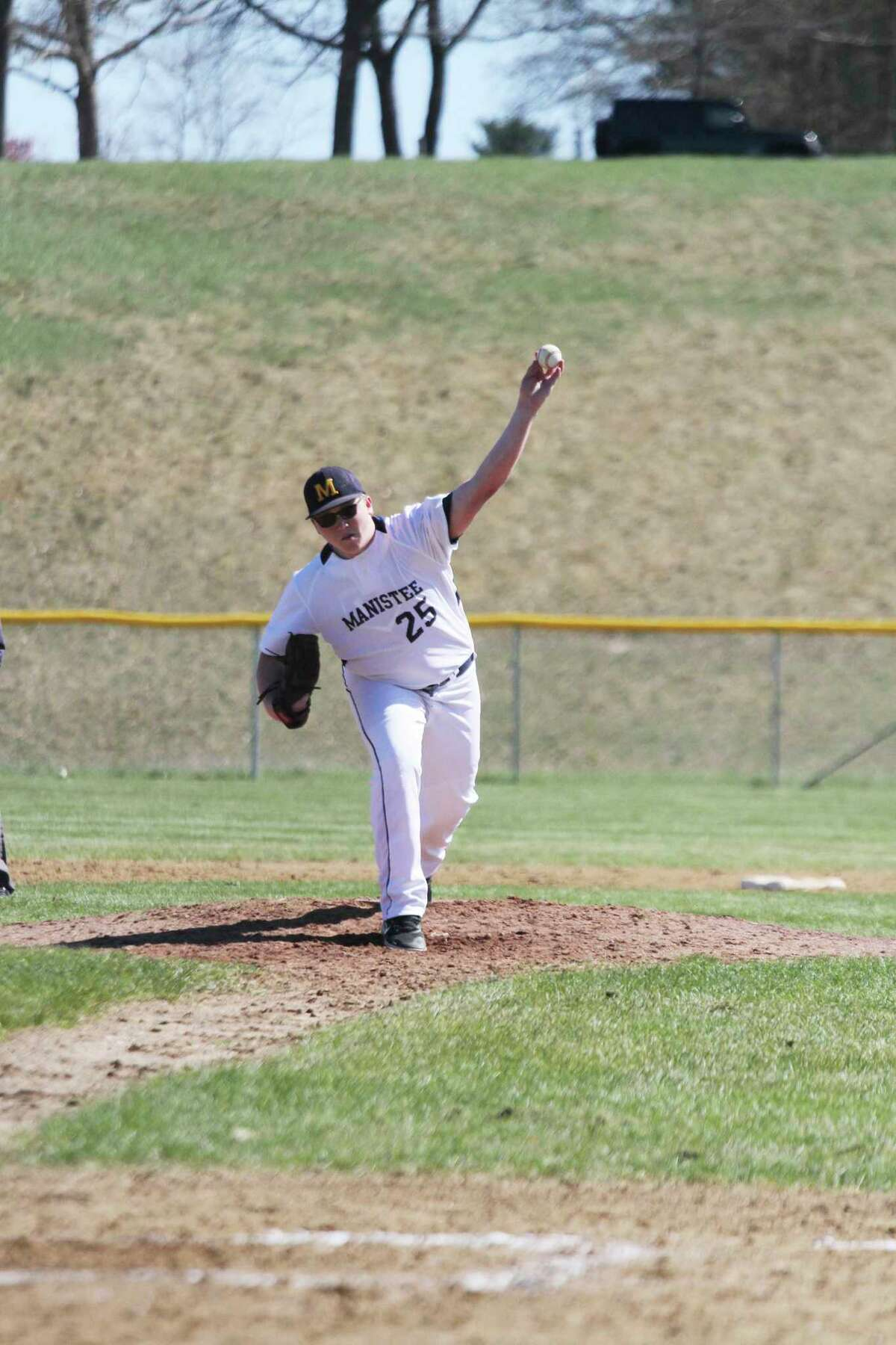 Donavyn Kirchinger and the Manistee Chippewas split with Orchard View on Tuesday. (News Advocate file photo)