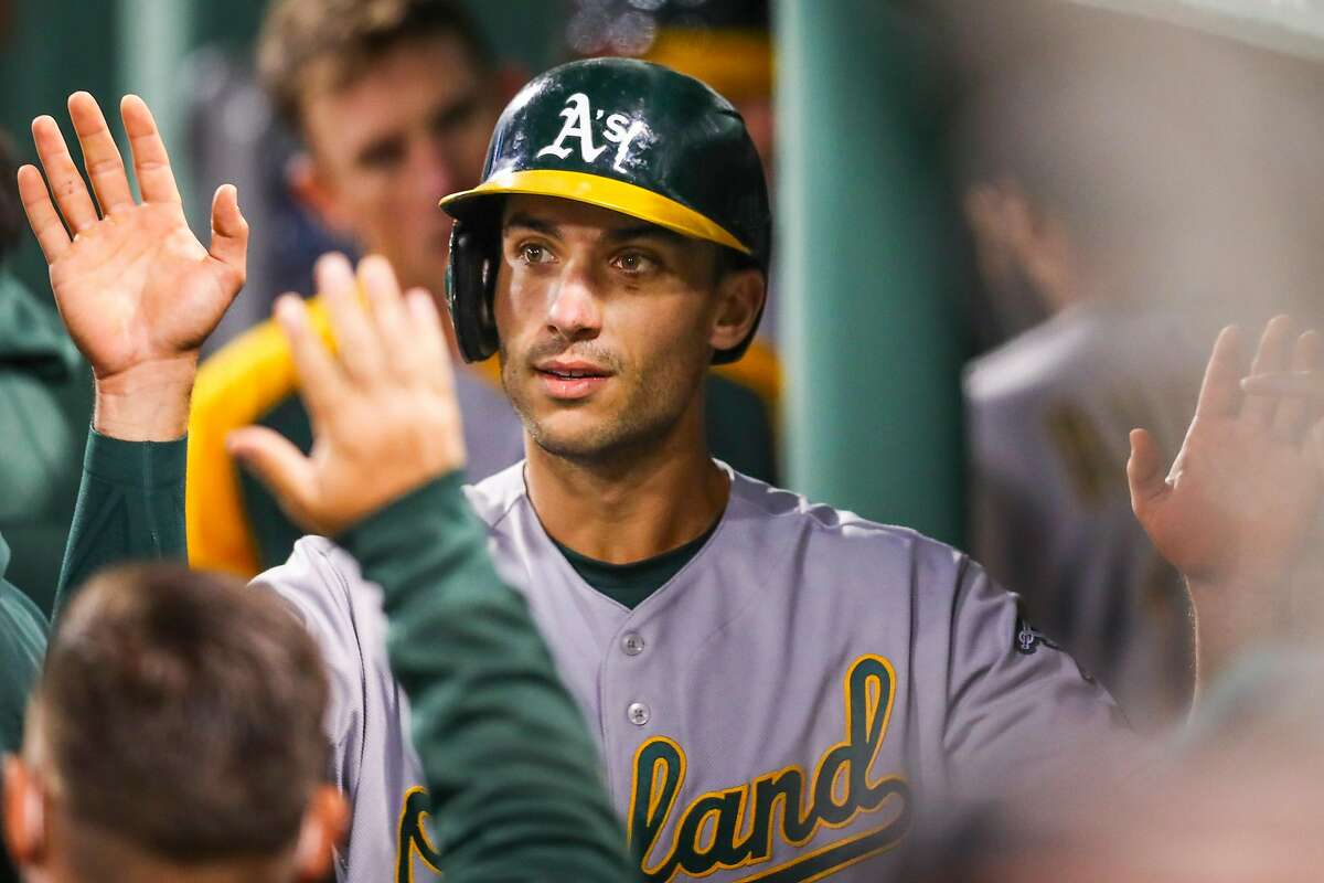 First baseman Matt Olson drove in the A's first run with a single and walked to start a two-run rally in the seventh.
