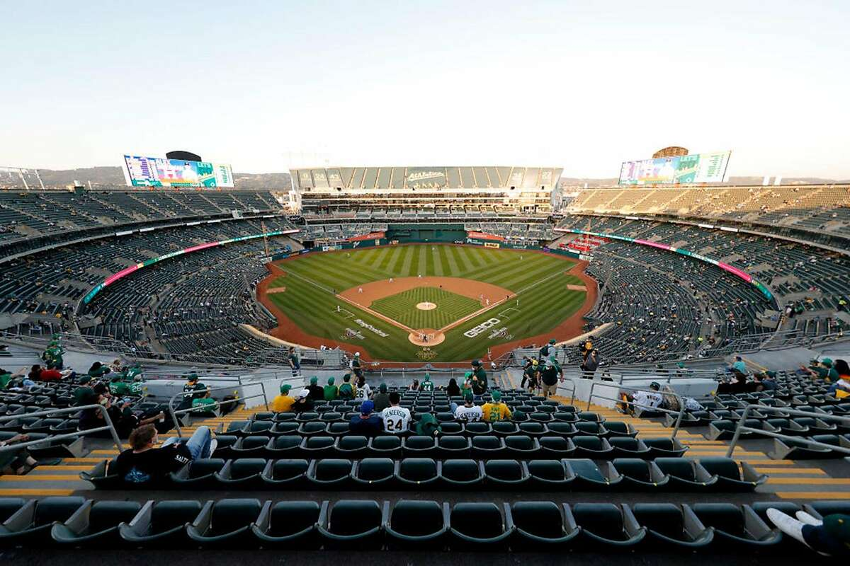 A general view of Chris Bassitt #40 of the Oakland Athletics pitching against the Houston Astros in the first inning of their Opening Day game at RingCentral Coliseum on April 1, 2021 in Oakland, California. (Photo by Ezra Shaw/Getty Images/TNS)