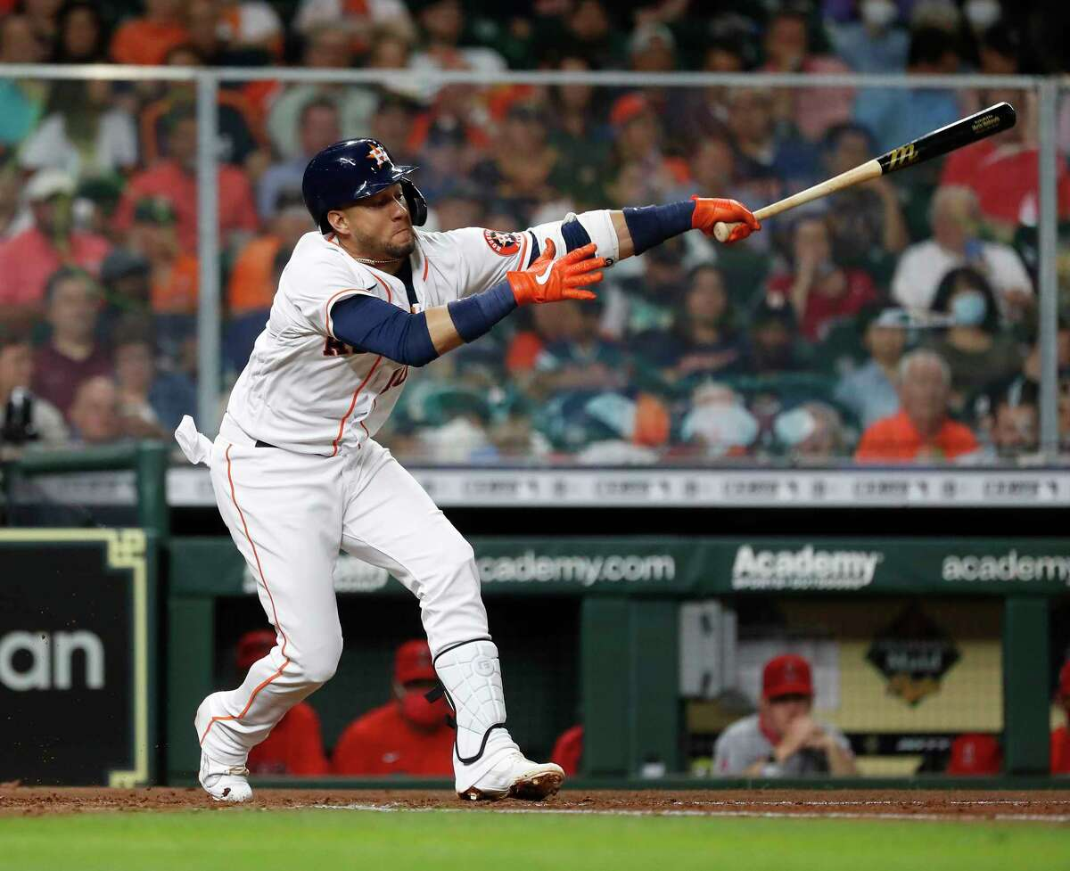 Houston Astros Yuli Gurriel (10) swings at a strike from Los Angeles Angels starting pitcher Shohei Ohtani during the fourth inning of an MLB baseball game at Minute Maid Park, Tuesday, May 11, 2021, in Houston.