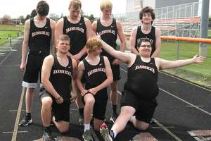 The Harbor Beach boys track and field team gets ready to have its picture taken before practice recently.