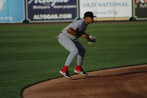 Loons shortstop Leonel Valera hops in anticipation of a play at LMCU Ballpark on May 11in Comstock Park.