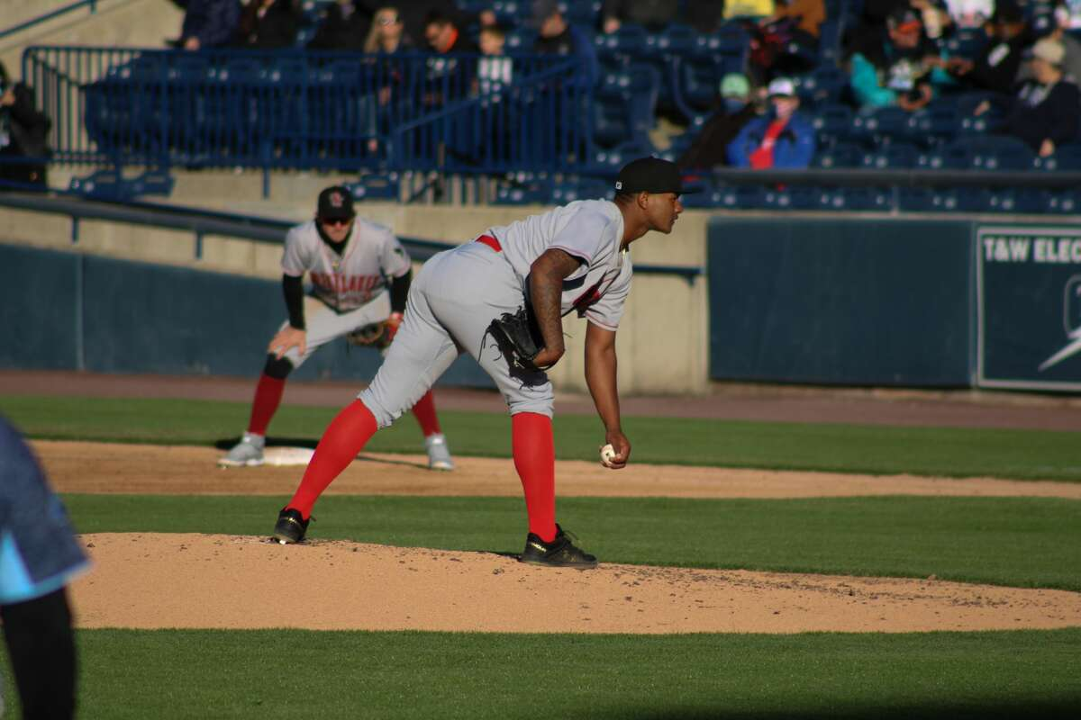 Robinson Ortiz prepares to pitch against West Michigan on May 11 at LMCU Ballparkin Comstock Park.